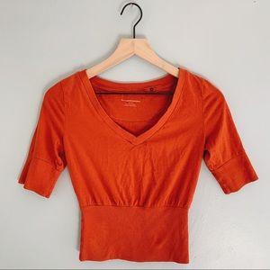 Anthro. Pilcro Crop Top Cotton V Neck Orange
